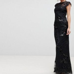 new asos CHI CHI LONDON sequin black maxi dress 8